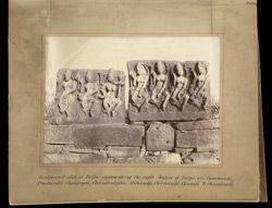 Sculptured slab at Bilas representing the eight Saktis of Durga, viz., Ugrachanda, Prachanda, Chandogra, Chandanayika, Atichanda, Chamunda, Chanda and Chandavati